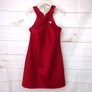 Bar III Cross Front & Flare Dress- Red
